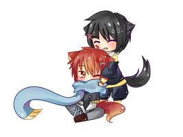 Comm: Chibi huggles by 12isMyLuckyNumber