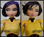 repainted ooak go go tomago doll from big hero 6. by verirrtesIrrlicht