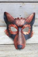 Red and gold leather wolf mask by SilverCicada