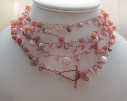 Pearl, Pink Opal and Crocheted Beading Thread by Valhallia
