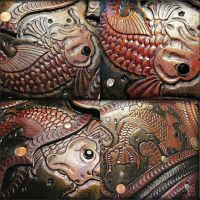 Leather Coy Fish Tooling by BadLukArt