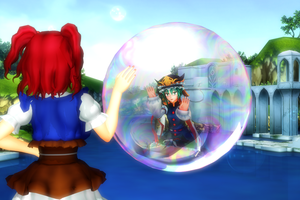 MMD: Eiki in a bubble by Galactiweirdo
