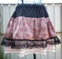 Skirt with layers, floral pink by SewObession