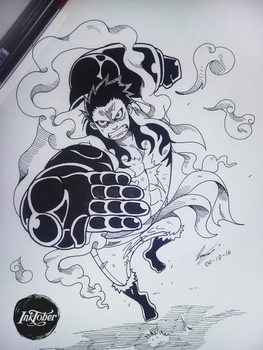 INKTOBER DAY 01: Luffy gear fourth!!! by Mixglasses