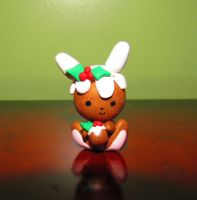 """Figgy Puddin' Bunny"" in Clay by nightmares-or-dreams"