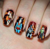 DC Comic Inspired Nail Art by MadamLuck