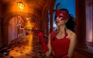 The Beauty In Red smoking by omaroman