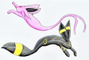 Umbreon and Espeon Fish by evilmind2