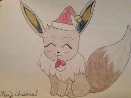 Christmas Eevee! by featherpenguins