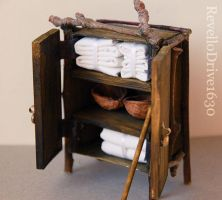 Fairy closet filled with bed linen 1:12 scale by RevelloDrive1630
