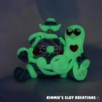 Polymer Clay Robot  I Love Octopuses Glow by KIMMIESCLAYKREATIONS