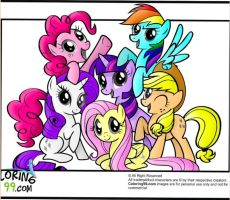 Mane Six (Coloring Page) by Kittygirl12345678