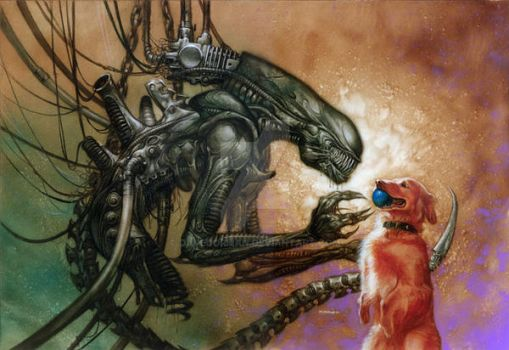 Alien and Dog by DaveDorman