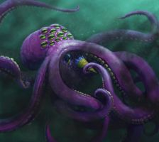 12-EYED OCTOPUS EATING A BLUEBERRY ICE CREAM by dante-cg