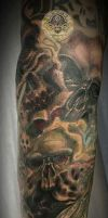 Skull forearm Tattoo 1.session by 2Face-Tattoo