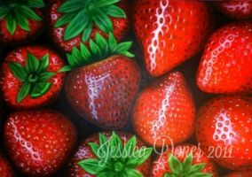 Strawberries by jessicameartist