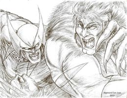 Wolverine vs. Sabretooth by Asintado24
