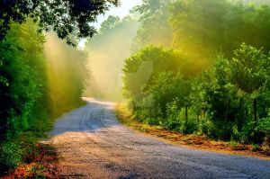 Road and Sun rays by JosivBG