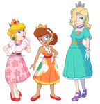 50's Mario Princesses by faster-by-choice