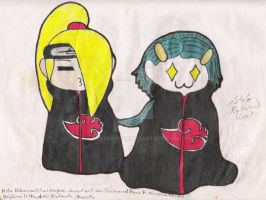Deidara and Mika in Chibi Mode by misterycai