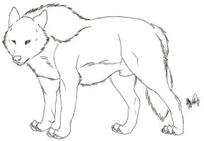 Free Lineart - Male Wolf by Rurouna