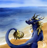 Dragon at the Beach by SilverFlight