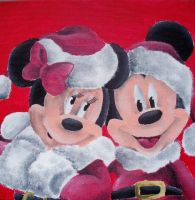 Mickey & Minnie Xmas Love by billywallwork525