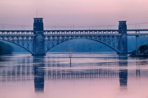 Britannia Bridge at sunset closer by CharmingPhotography