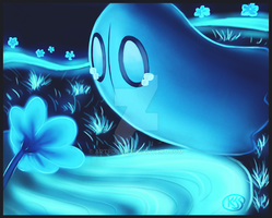 Napstablook and the Echo Flowers by Artpixie7