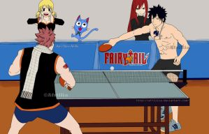 Natsu vs Gray Table Tenis Match by afrillia