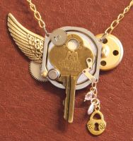 Steampunk key and wing by Lucky978