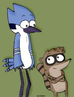 Mordecai and Rigby by AJMSTUDIOS