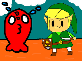 Link and the chuchu (Legend of Zelda) by thegamingdrawer