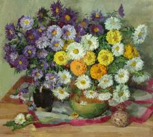 Bouquet with asters by AmsterdamArtGallery