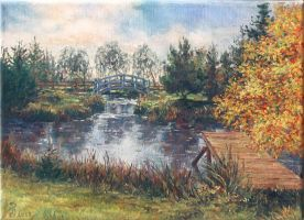 Garden pond in Stegna by Victoria-Poloniae
