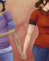 Sadzombiegirls: Ellie and Clementine by Neonlightwolf