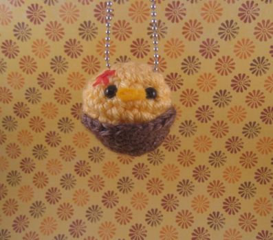 Baby Birdy in Nest Keychain by AmiTownCreatures