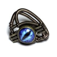 Steampunk Jewelry - RING - Blue frost Dragon eye by CatherinetteRings