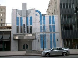 Blue and White Deco Bldg by vanfoto