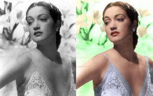 Dorothy Lamour colorised before and after by ThinkingKind