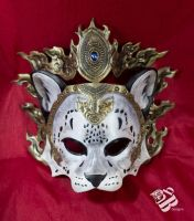 Crowned Snow Leopard Leather Mask by b3designsllc