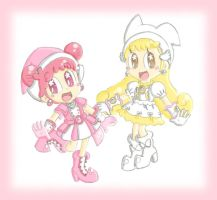 AT with PrettyWitchEveChan: Doremi and Hana by CloTheMarioLover
