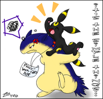 Typhlosion Piggy-back Rides by crayon-chewer