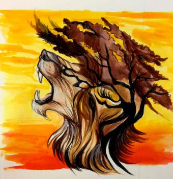 Lion and Acacia Tree by Lucky978