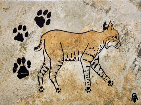 Prehistoric Style Bobcat painting by RobertMeyer