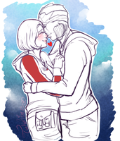 COM-Thane and Shepard Kiss by Tsukahime