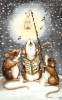 Carolling Mice by WildWoodArtsCo