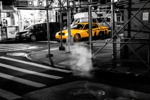 Yellow cab and steam by Exxhuminator