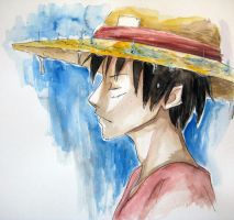 Watercolour: Luffy in the rain by SarahSoak