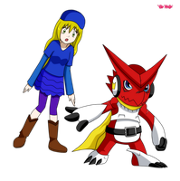 COMMISSION Haley and Shoutmon by JubiaMaJo